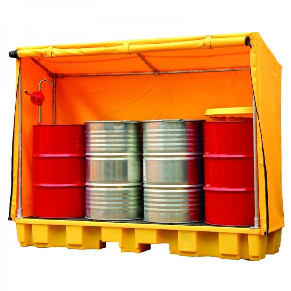 Bund Pallet - 4 Drum In-Line with Frame & Cover - SpillCentre