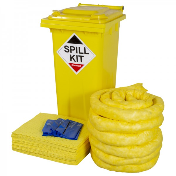 120L Chemical Spill Kit in Wheeled Bin - SpillCentre
