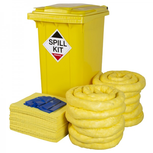 240L Chemical Spill Kit in Wheeled Bin - SpillCentre