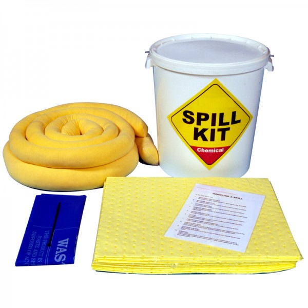 35L Chemical Spill Kit in Plastic Drum - SpillCentre