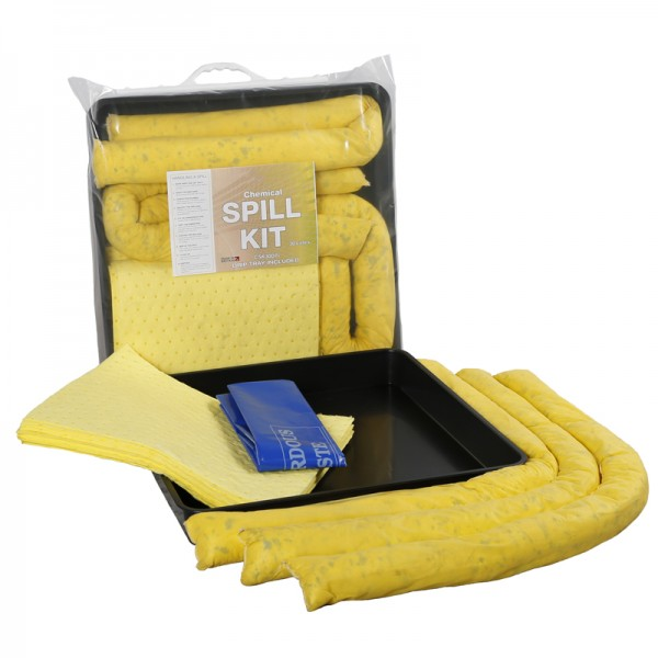 30L Chemical Spill Kit in Clip-Close Plastic Bag + Drip Tray - SpillCentre