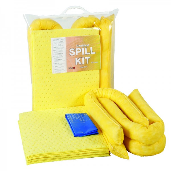 40L Chemical Spill Kit in Clip-Top Plastic Bag - SpillCentre