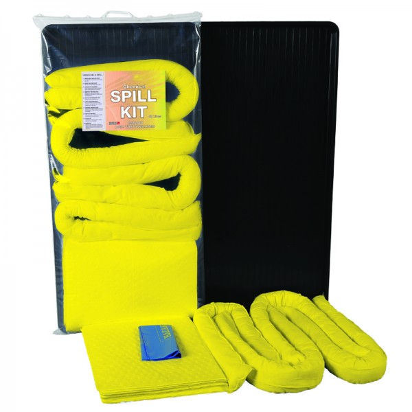40L Chemical Spill Kit in Clip-Top Plastic Bag + Drip Tray - SpillCentre