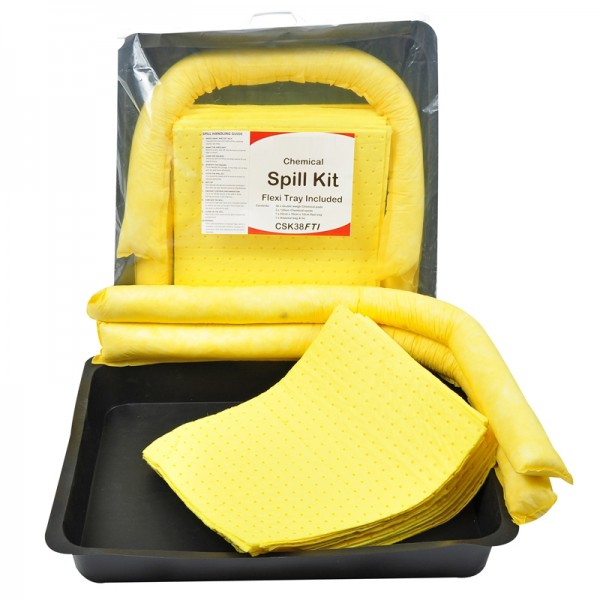 40L Chemical Spill Kit In Clip-Close Plastic Bag + Drip Tray - SpillCentre