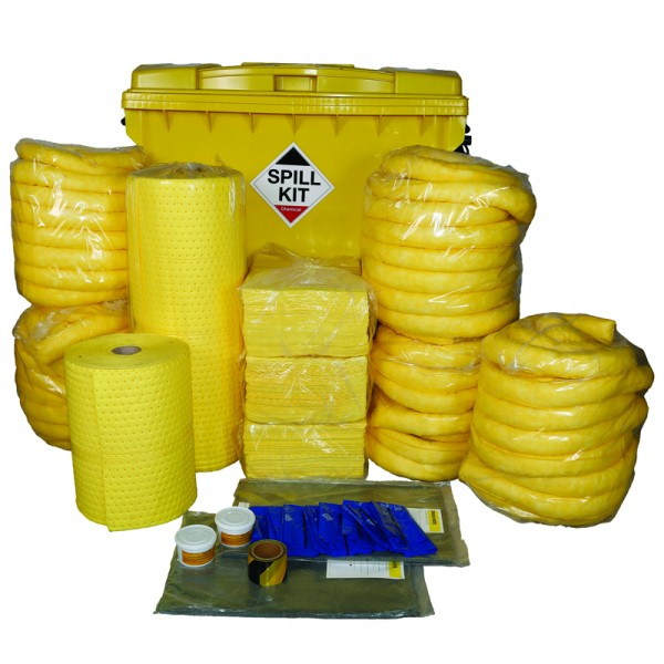 1100L Chemical Spill Kit in Wheeled Industrial Bin - SpillCentre
