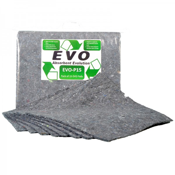 Evo Oil and Fuel Absorbent Pads - 40 x 50 x 1cm - Pack of 15 - SpillCentre