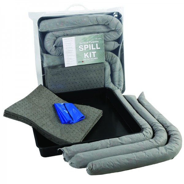 30L General Spill Kit in Clip-Close Plastic Bag + Drip Tray - SpillCentre