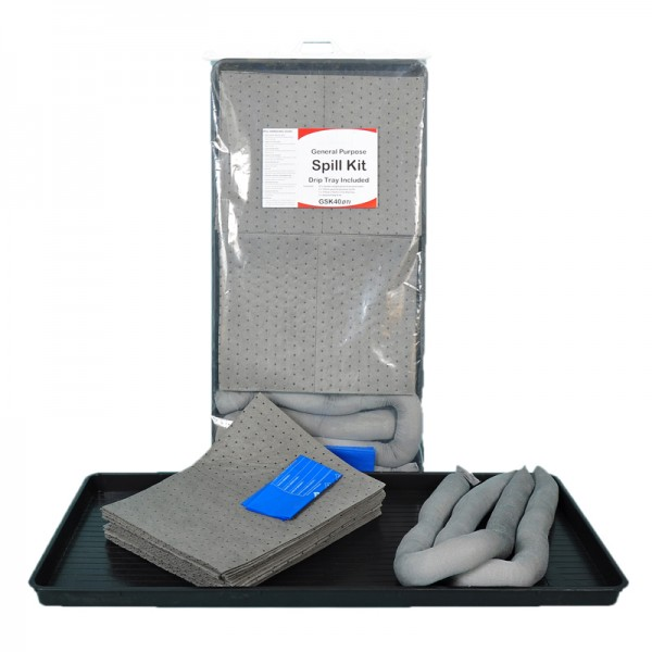 40L General Spill Kit in Clip-Top Plastic Bag + Drip Tray - SpillCentre