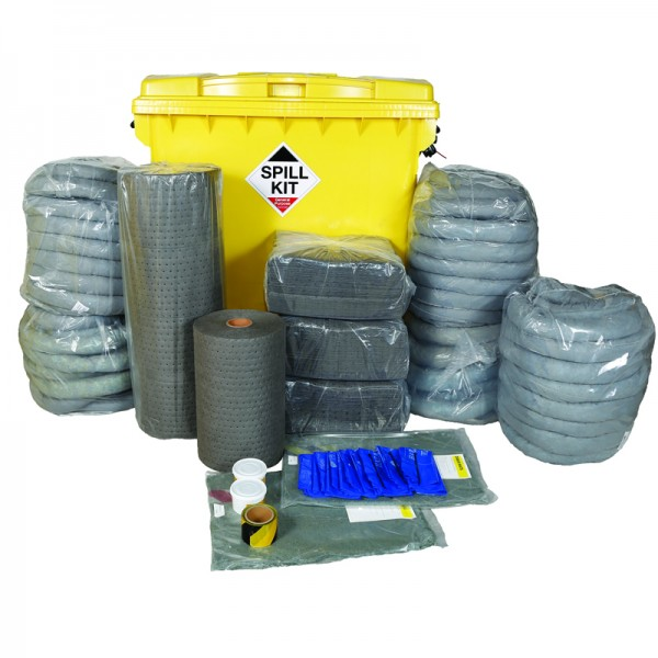 1100L General Spill Kit in Wheeled Industrial Bin - SpillCentre
