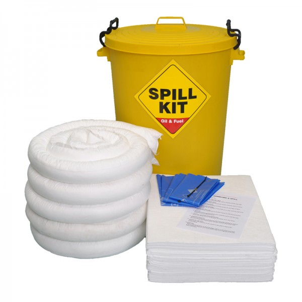 100L Oil & Fuel Spill Kit in Plastic Bin - SpillCentre