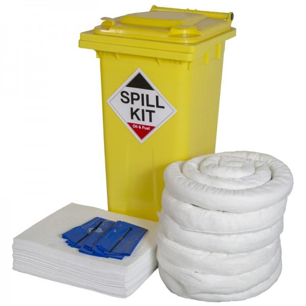 120L Oil & Fuel Spill Kit in Wheeled Bin - SpillCentre