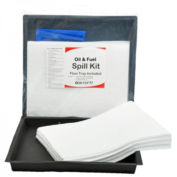 15L Oil & Fuel Spill Kit in Clip-Close Plastic Bag + Flexible Tray - SpillCentre