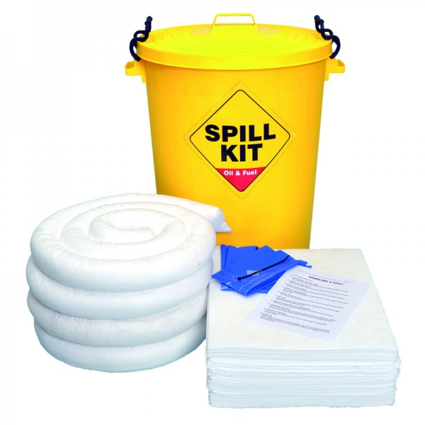 90L Oil & Fuel Spill Kit in Plastic Bin - SpillCentre