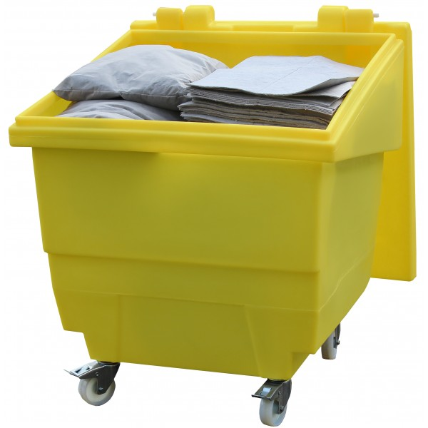 250L General Purpose Storage Container On Wheels With Hinged Lid - SpillCentre