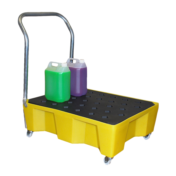 Spill Tray On Wheels With Handle & Grid - SpillCentre