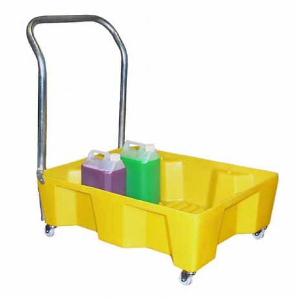 Spill Tray On Wheels With Handle (No Grid) - SpillCentre